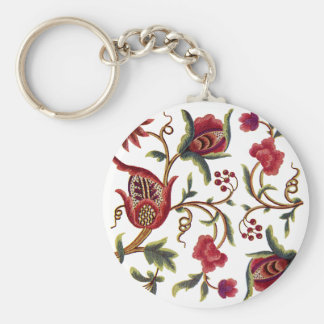 Traditional Queen Anne Jacobean Embroidery Keychain