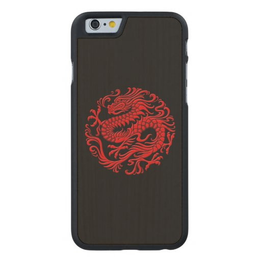 Traditional Red and Black Chinese Dragon Circle Carved® Maple iPhone 6 Slim Case