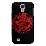 Traditional Red and Black Chinese Dragon Circle Samsung Galaxy S4 Cases