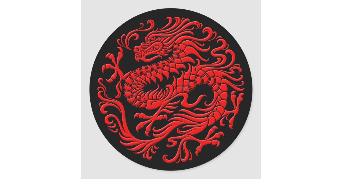 Traditional Red And Black Chinese Dragon Circle Classic Round Sticker