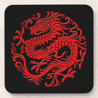 Traditional Red and Black Chinese Dragon Circle Drink Coasters
