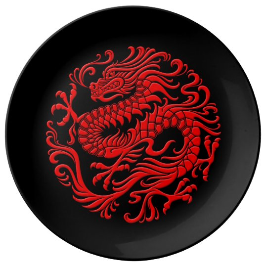 Traditional Red And Black Chinese Dragon Circle Dinner
