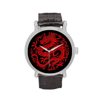 Traditional Red and Black Chinese Dragon Circle Watch