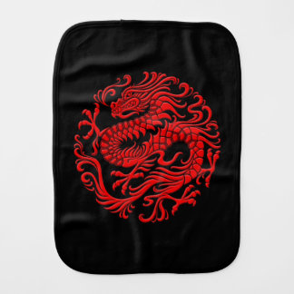 Traditional Red and Black Chinese Dragon Circle Baby Burp Cloths