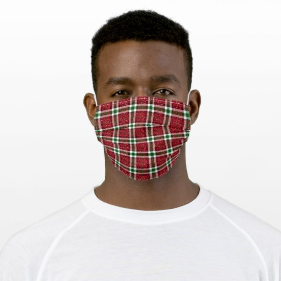 Traditional Red and Green Christmas Plaid Glitter Adult Cloth Face Mask