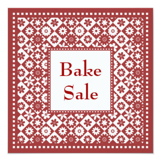 Traditional Red and White Old Fashioned Bake Sale 5.25x5.25 Square Paper Invitation Card