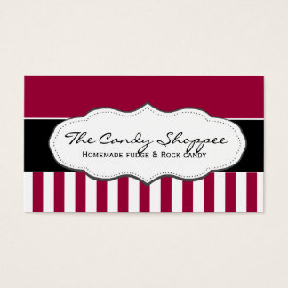 Traditional Red and White Striped Business Cards