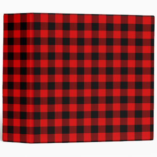 Traditional Red Black Buffalo Check Plaid Pattern 3 Ring Binder