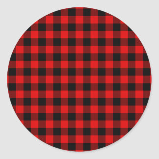 Traditional Red Black Buffalo Check Plaid Pattern Classic Round Sticker
