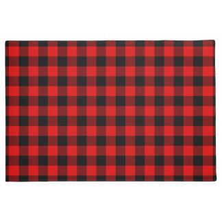 Traditional Red Black Buffalo Check Plaid Pattern Doormat