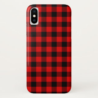 Traditional Red Black Buffalo Check Plaid Pattern iPhone X Case
