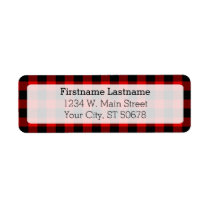 Traditional Red Black Buffalo Check Plaid Pattern Label