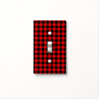 Traditional Red Black Buffalo Check Plaid Pattern Light Switch Cover