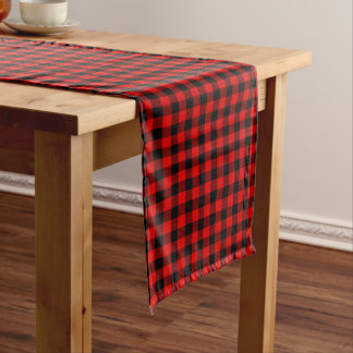 Traditional Red Black Buffalo Check Plaid Pattern Long Table Runner