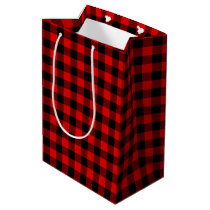 Traditional Red Black Buffalo Check Plaid Pattern Medium Gift Bag