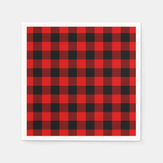 Traditional Red Black Buffalo Check Plaid Pattern Napkin