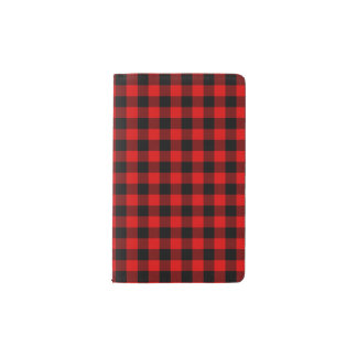 Traditional Red Black Buffalo Check Plaid Pattern Pocket Moleskine Notebook