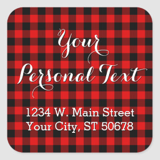 Traditional Red Black Buffalo Check Plaid Pattern Square Sticker