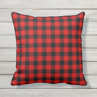 Traditional Red Black Buffalo Check Plaid Pattern Throw Pillow