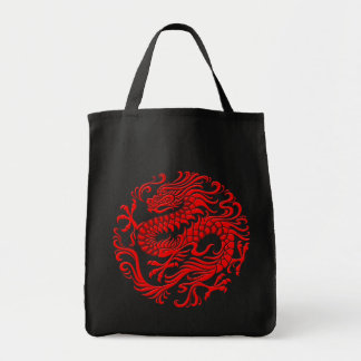 Traditional Red Chinese Dragon Circle Tote Bags