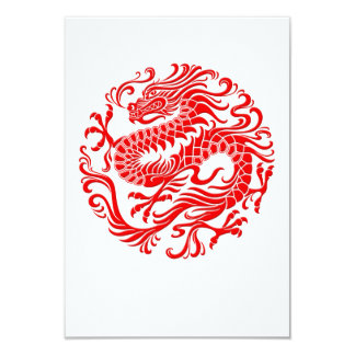 Traditional Red Chinese Dragon Circle Card