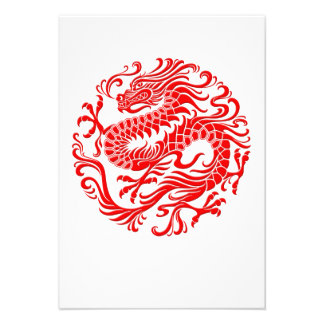 Traditional Red Chinese Dragon Circle Invite