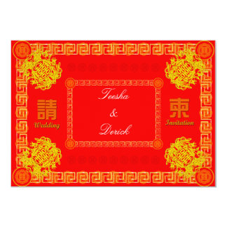 traditional red chinese wedding RSVP invitation ca