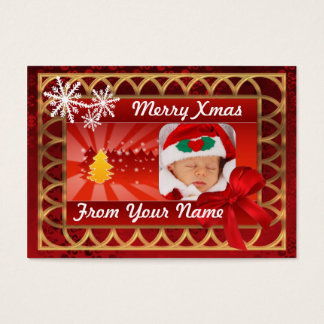 Traditional red & gold photocard Christmas tag