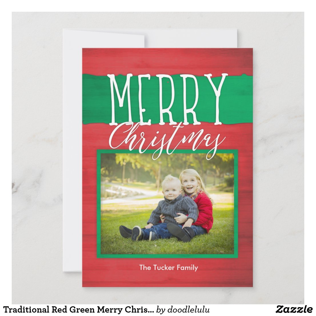 Traditional Red Green Merry Christmas Photo Card
