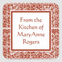Traditional Red Lace Canning Jar Food Labels