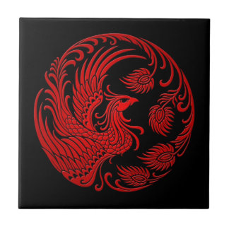 Traditional Red Phoenix Circle Ceramic Tile