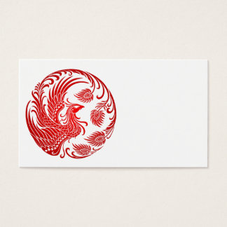 Traditional Red Phoenix Circle on Red Business Card