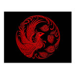 Traditional Red Phoenix Circle Post Card