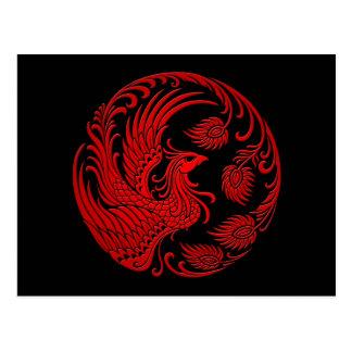 Traditional Red Phoenix Circle Postcard