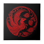 Traditional Red Phoenix Circle Tile