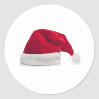 Traditional red santa claus hat classic round sticker