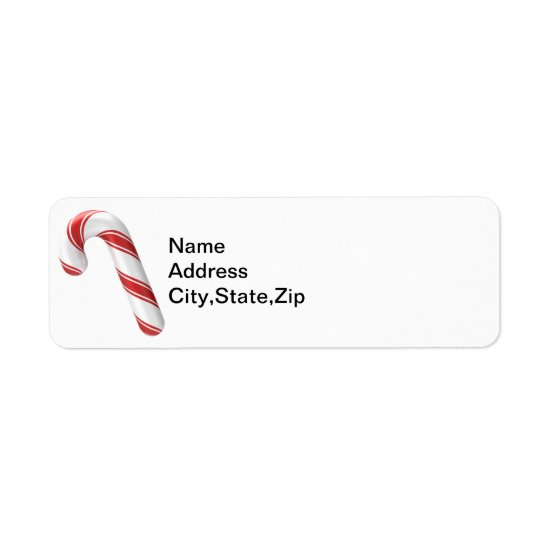 Traditional Red White Candy Cane Address Label