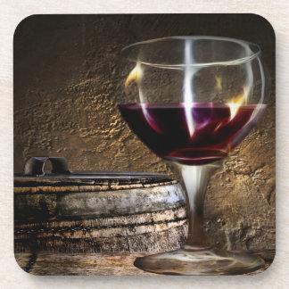 Traditional red wine on wooden barrel beverage coaster