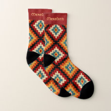 Traditional Romanian Folk Art Pattern Socks