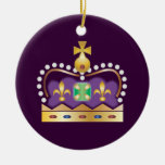 Traditional Royal Crown Double-Sided Ceramic Round Christmas Ornament