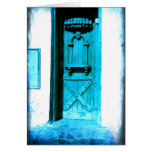 Traditional Rustic Blue Door Santorini GREECE Greeting Card