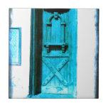 Traditional Rustic Blue Door Santorini GREECE Tile