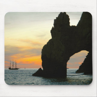 Traditional Sailboat At Sunset,Cabo Rock Arches Mouse Pad