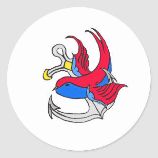Traditional Sailor Tattoo design Classic Round Sticker