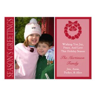 Traditional Season s Greetings Wreath Burgandy Custom Invites