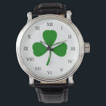 """Traditional Shamrock Watch<br><div class=""""desc"""">A traditional green shamrock decorates this stylish watch. The design is from original art.</div>"""