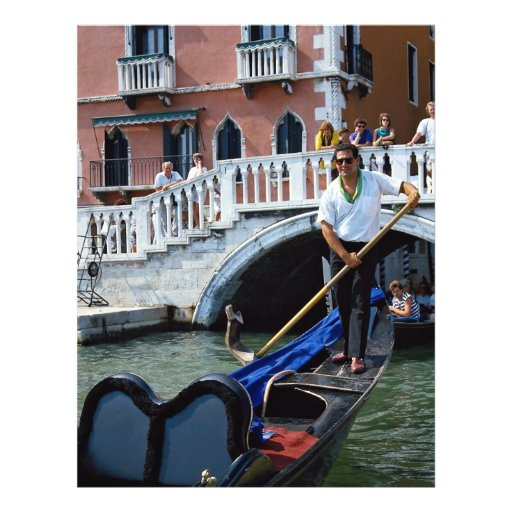 Traditional singing gondolier, Venice, Italy Flyer