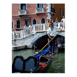 Traditional singing gondolier, Venice, Italy Postcard