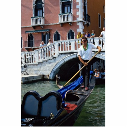 Traditional singing gondolier, Venice, Italy Standing Photo Sculpture