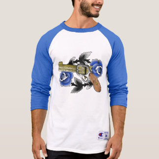 Traditional Six Shooter with Blue Roses T-Shirt